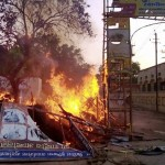 Mathura: A fire break out after clashes between the police and the encroachers who were being evicted from Jawaharbagh in Mathura on Thursday. PTI Photo  (PTI6_2_2016_000256B)